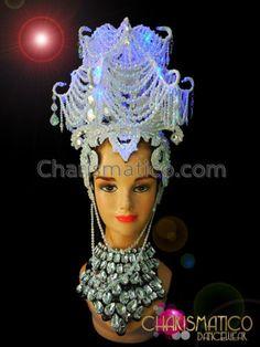 Diva's Showgirl White Iridescent Crystal Headdress with Added Neon Lighting   eBay