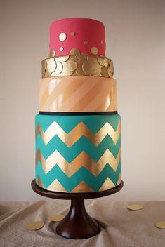 Super chic metallic chevron wedding cake - teal and hot pink. LOVE!