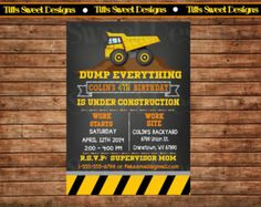 Construction Party Invitation - Dump Truck Invitation - Custom - Personalized - Printable - Chalkboard