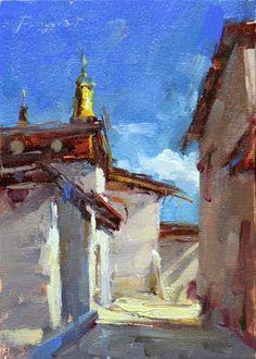 "Daily Paintworks - ""Shangri - La -- the Temple"" - Original Fine Art for Sale - © Fongwei Liu"