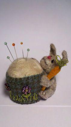 Felted bunny pin cushion