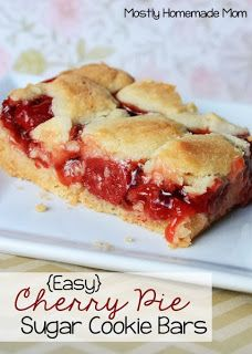 Easy Cherry Pie Sugar Cookie Bars – sweet cherry pie filling between sugar cookie layers. Such an easy and pretty dessert! These bars were something I thought of just looking at a pouch of sugar cookie mix and a can of cherry pie filling. Köstliche Desserts, Delicious Desserts, Dessert Recipes, Bar Recipes, Health Desserts, Picnic Recipes, Picnic Ideas, Strawberry Desserts, Health Foods