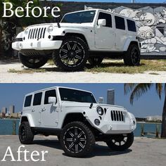 Here's a little before and after of Jeep Wrangler … Color change to matte white and front bumper and fog lamp upgrade… What do you think of the changes made. White Jeep Wrangler, Jeep Wrangler Unlimited, My Dream Car, Dream Cars, Custom Jeep, Cool Jeeps, G Wagon, Jeep Life, Color Change