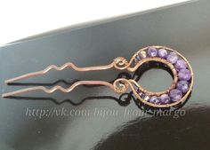 Copper and Ametist Hairpin