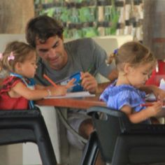 Roger Federer with his twin girls....adorable!!! This will totally be Scottie! He will be so in love :)