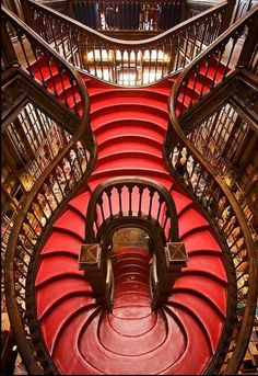 ✯ Lello bookshop .. Oporto, Portugal✯  HARRYPOTTER'S SCHOOL LIBRARU WAS TURNED IN THIS AMAZING OPORTO'S BOOK SHOOP!!!