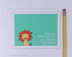 Lion Happy Birthday Card Romantic Birthday Card by SunnyDoveStudio