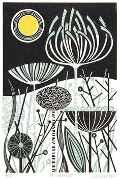 Angie Lewin is a lino print artist, wood engraver, screen printer and painter depicting the UK's natural flora in linocut and other limited edition prints. Linocut Prints, Art Prints, Block Prints, Angie Lewin, Sgraffito, Linoprint, Art Japonais, Wood Engraving, Woodblock Print