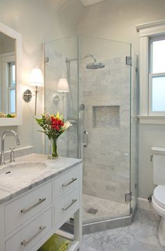 Permalink to Stunning Modern Showers Design Ideas In Bathroom Transitional Design Ideas With Bar Pulls Bridge Faucet Glass Shower Door