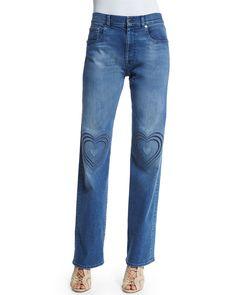 Boyfriend Heart-Stitched Wide-Leg Jeans, Navy, Women's, Size: 24 - Christopher Kane