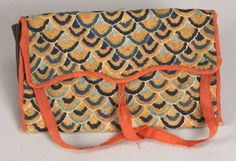 C18th American, wool needlework pocketbook