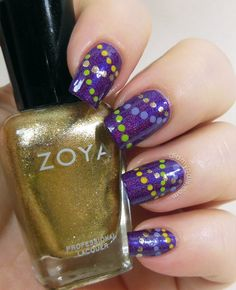 Elizabeth at didmynails.com - her Mardi Gras nails! I am so doing these next year!