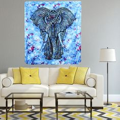 Indian Home Tapestry Walking Elephant Totem Beach Towel Hanging Wall Carpet Sitting Carpet Decorative Carpet Kitchen Tablecloth Tapestry Beach, Mandala Tapestry, Tapestry Wall Hanging, Colorful Tapestry, Kitchen Tablecloths, Big Baths, Elephant Tapestry, Wall Carpet, Home Textile