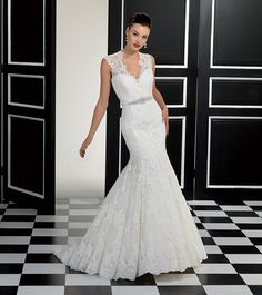 Lace fit n flare Eddy K with a beaded belt Eddy K, Wedding Book, Stylus, Bridal Collection, Panna, Wedding Dresses, Dress Ideas, Bride Dresses, Wedding Gowns