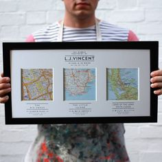 Personalised Map Wedding Art by Basil & Ford, the perfect gift for Explore more unique gifts in our curated marketplace. Wedding Art, Wedding Gifts, Handmade Wedding, Os Maps, Map Crafts, Vintage Maps, Diy Gifts, Grad Gifts, House Warming
