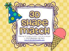 FREE Shapes Matching Activity by Grade Thoughts 3d Shapes Kindergarten, Kindergarten Freebies, Math Rotations, Math Centers, Numeracy, Fun Math, Math Activities, Educational Activities, Maths