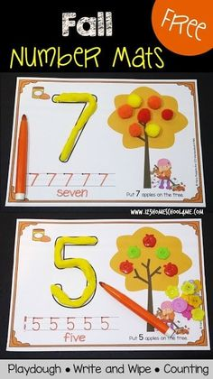FREE Fall Number Mats - These super cute printables are perfect for Preschool, Prek, and Kindergarten age kids to practice counting, making numbers with playdough, and writing numbers. Kindergarten Centers, Preschool Classroom, Preschool Learning, Classroom Activities, Preschool Crafts, Toddler Preschool, Numbers Kindergarten, Montessori Elementary, Montessori Preschool