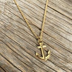 Nautical anchor 18k gold-plated necklace Waterproof by byMarisSal