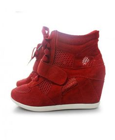 Leather Wedge Sneakers - Heels Boots - Boots - Footwear - All Products