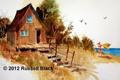 This site offers a gallery of watercolor paintings by Russell Black. Watercolor Projects, Watercolor Paintings, Yellow Towels, Sheds, Watercolors, Landscapes, Ocean, Camping, Homes