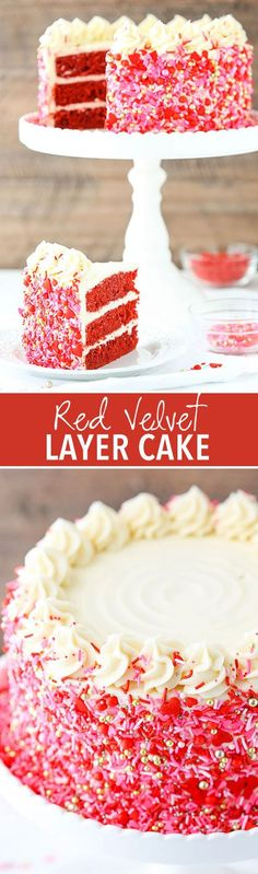 Red Velvet Layer Cake with Cream Cheese Frosting! Covered in sprinkles and perfect for Valentine's Day! #cakebaking