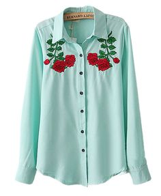 Ethnic Shirt with Embroid Rose Details