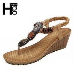 HEE GRAND 2017 Bohemia Wedge Women Sandals Summer Vintage Rhinestone Woman Flip Flops Beach Women Shoes Chaussure XWZ415