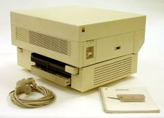 The Apple LaserWriter was the first laser printer available to the mass market.  The Apple LaserWriter (released March 1985) with its built-...