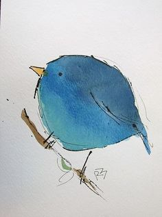 Watercolor Birds - simple watercolors that I think even kids would enjoy making their own version