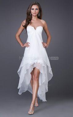 Chiffon A-line Sweetheart Asymmetrical White Ball Dress (NZJT06383) - MyBridesmaids.co.nz