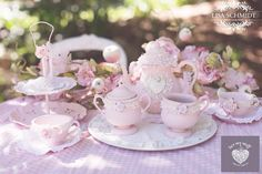 shabby Chic Sugar Painted teapots and cake stands  www.luvmystuff.com,.au