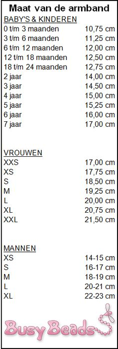 De maat van armbanden in centimeters.