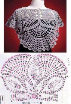 Women's Crochet Top Pattern PDF Japanese Pattern with Charts Ladies Jumper Pullover Yoke Sweater Dia Crochet Bolero Pattern, Crochet Doily Diagram, Crochet Squares, Filet Crochet, Crochet Doilies, Crochet Lace, Crochet Patterns, Knitting Patterns, Cowl Patterns