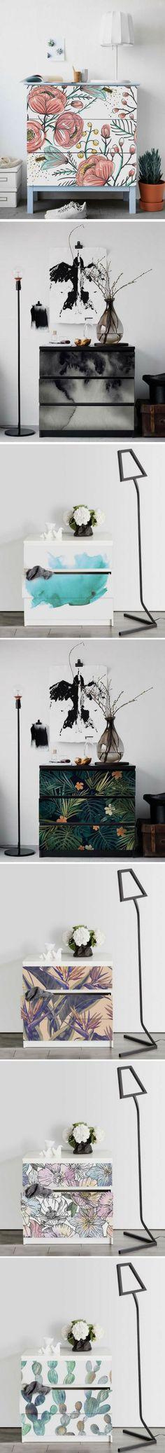 Relooker et personnaliser une commode MALM IKEA avec des stickers ! #ikeahack #ikeamalm #diy #interiordecoration #interiordesign