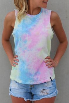 LARAH - Glow Muscle Top This Tie Dye LARAH The Label Muscle Top is perfect this Summer to pair up with your denim shorts. $39.00 SHOP ll http://www.jeanjail.com.au/ladies/larah-glow-muscle-top.html