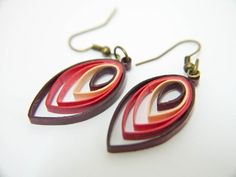 Shades of Red Leaf Paper Quilling Earrings by FiligreeDelights