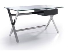 Orion- Contemporary Glass and Chrome Office Desk With a Lacquered Drawer by Porto Lujo Bureau Design, Glass Top Desk, Modern Office Desk, Laque, Drafting Desk, Corner Desk, Drawers, Chrome, Contemporary