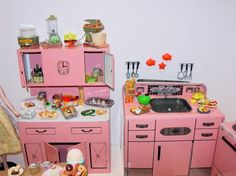 Image detail for -Tin Wolverine Pink Kitchen Play Set