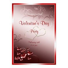 Red heart Valentine's Day Party Custom Invitations