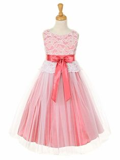 Off-White Lace Bodice Dress w/ Coral Charmeuse Tulle Overlay Skirt