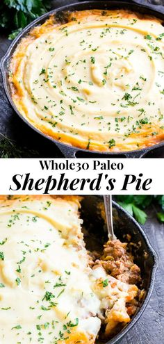 This Paleo Shepherd's Pie is classic cozy comfort food for cold winter days! It's dairy free easy to make and kid approved. A flavorful hearty ground beef mixture is topped with creamy dairy-free mashed potatoes and baked until golden brown and bubbling. Whole 30 Meal Plan, Whole 30 Diet, Paleo Whole 30, Whole 30 Recipes, Whole Foods, Whole 30 Soup, Whole30 Dinner Recipes, Paleo Recipes, Paleo Food