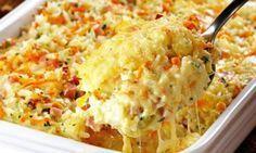 Gebackener Reis mit Schinken und Käse