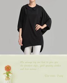 Chiffon Shirt White Blouse Black Blouse Cute by OurLittleDaisy, $65.00
