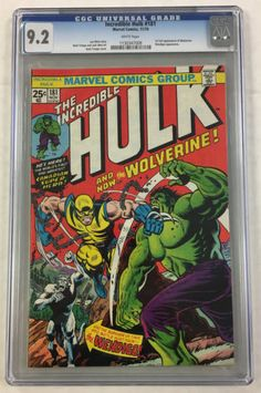 #certified #graded #cgc #cpgx #art #DC #Marvel #comic CGC 9.2 INCREDIBLE HULK #181 1ST WOLVERINE 1970'S MARVEL COMIC BOOK LEN WEIN