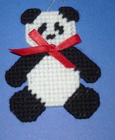 Panda Bear Christmas Ornament - Stitched on Plastic Canvas by DonasBoutique