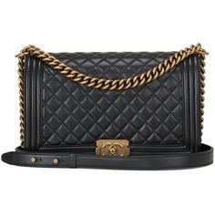 Chanel Pearly Black Lambskin New Medium Boy Bag Gold Hardware ($6,500) ❤ liked on Polyvore featuring bags, handbags, handbags and purses, shoulder bags, structured shoulder bags, chanel bags, black structured handbag, chanel purses, lamb leather handbag and strap purse