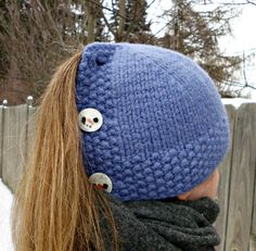 Free Knitting Pattern for Cardigan Ponytail Hat -This cloche features a button band in back that you button up around your hair without messing it. Or button it up entirely to wear over your hair. Designed by Allison Chrien. Pictured project by funkknit