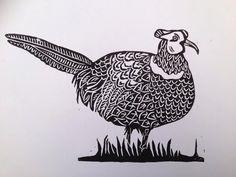 Pheasant linocut