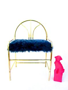 Vintage Hollywood Regency Brass & Royal Blue Mongolian Faux Fur Vanity Bench…