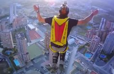 Three base jumpers capture their daredevil stunt using a head camera as they use an external lift at the Hotel Bali in Benidorm to scale the building before diving off one-by-one Environmental News, Third Base, Base Jumping, Paragliding, Crazy People, Stunts, Wildlife, Adventure, Daredevil